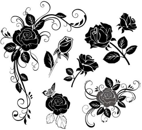 Rose Hand Painted Flowers Wall Deco Free CDR Vectors Art