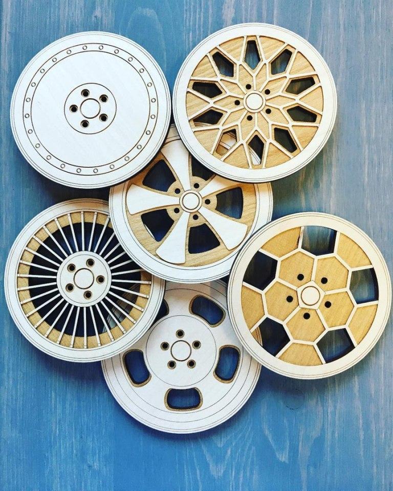 Laser Cutting Original Wheel Coasters Free CDR Vectors Art