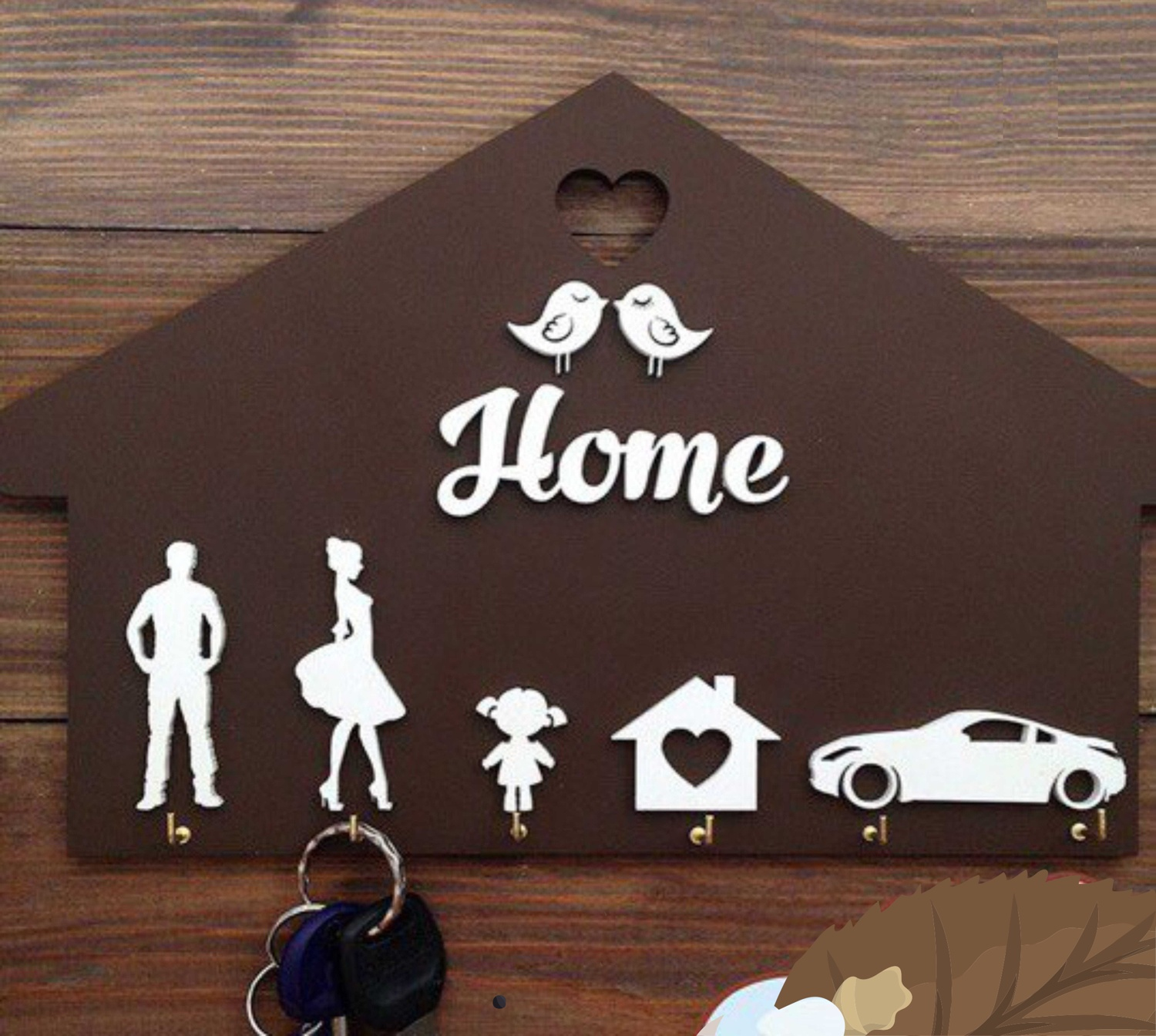 Laser Cut Home Shaped Wooden Key Holder Personalized Key Hanger Free CDR Vectors Art
