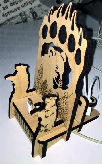 Laser Cut Bear Phone Stand Free CDR Vectors Art