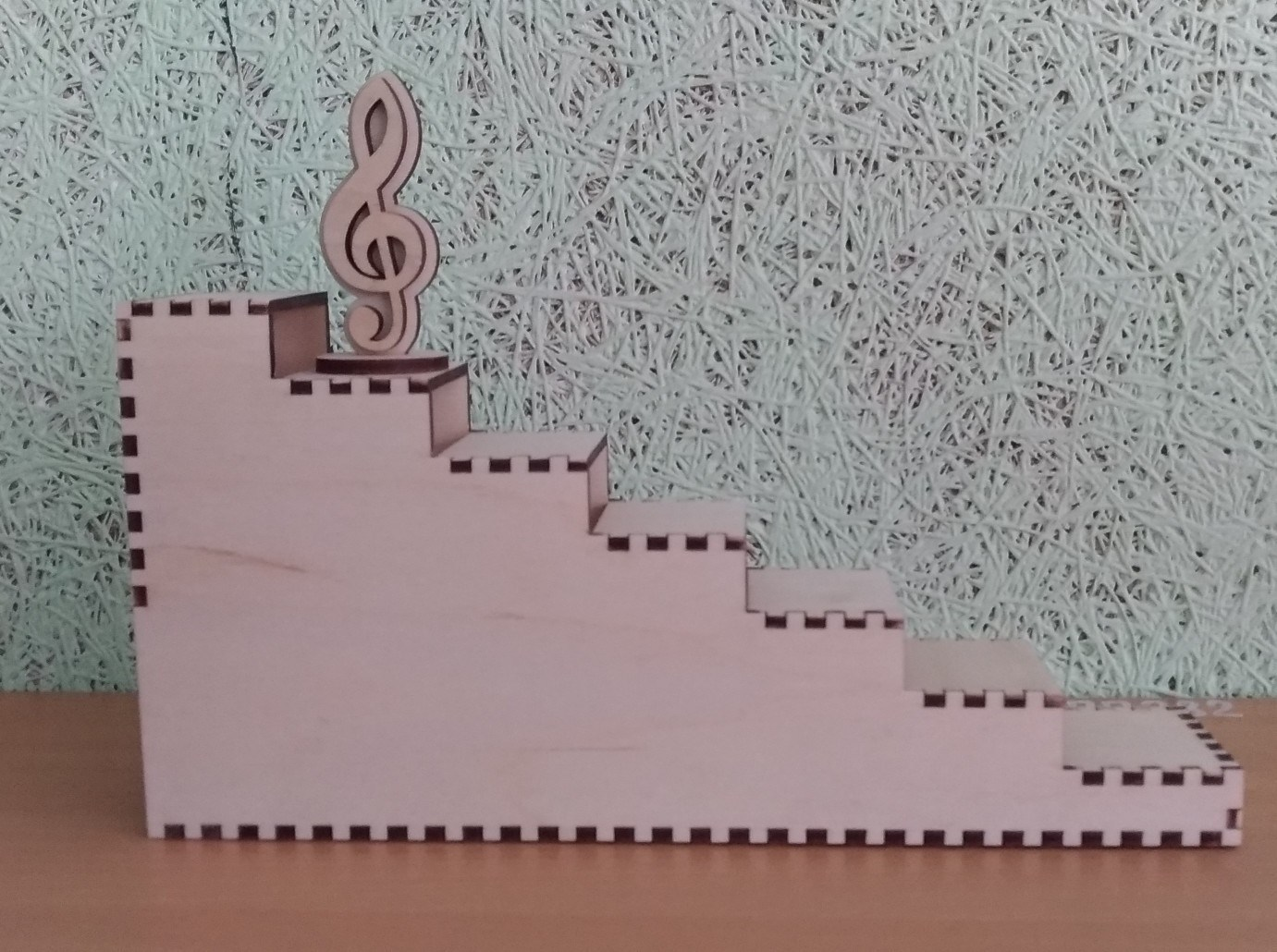 Wooden Ladder Stair Step Display Stand Laser Cutting Template Free CDR Vectors Art