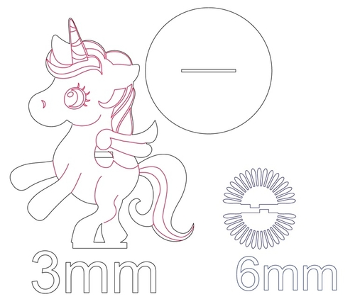 Laser Cut Unicorn Napkin Holder Free DXF File