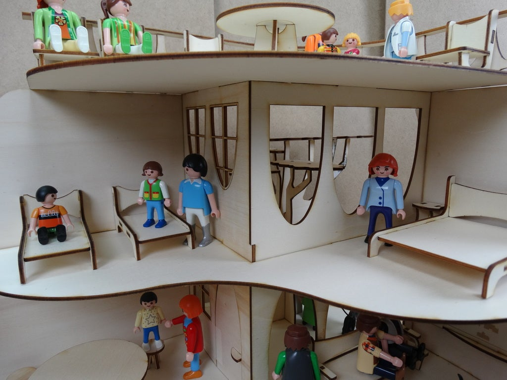Modern House Wooden Doll House 3mm Toys For Children Free DXF File