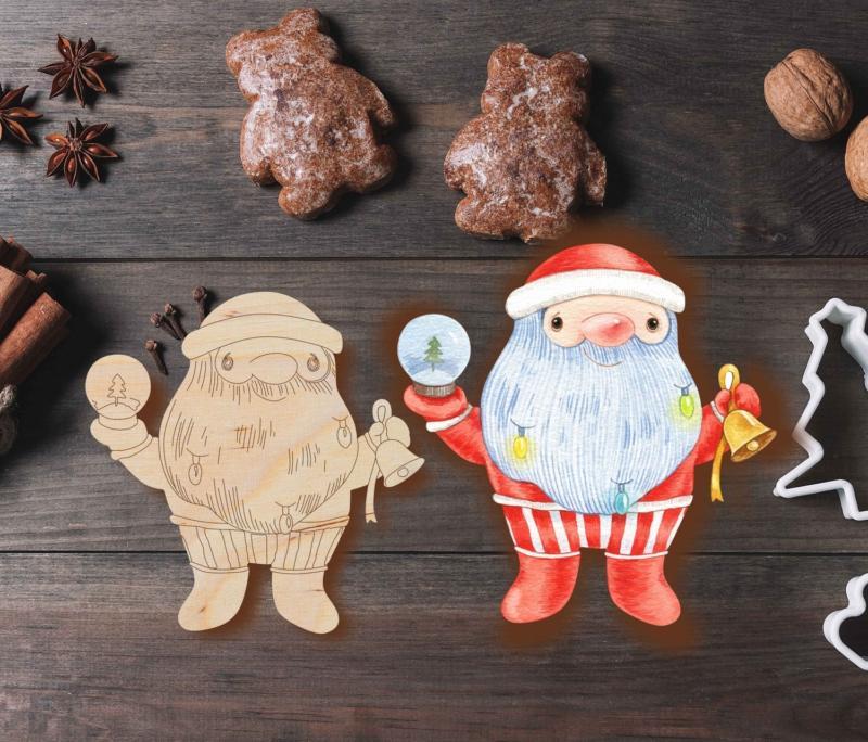 Laser Cut Grandpa Christmas Ornament Santa Claus Christmas Tree Decoration Free DXF File