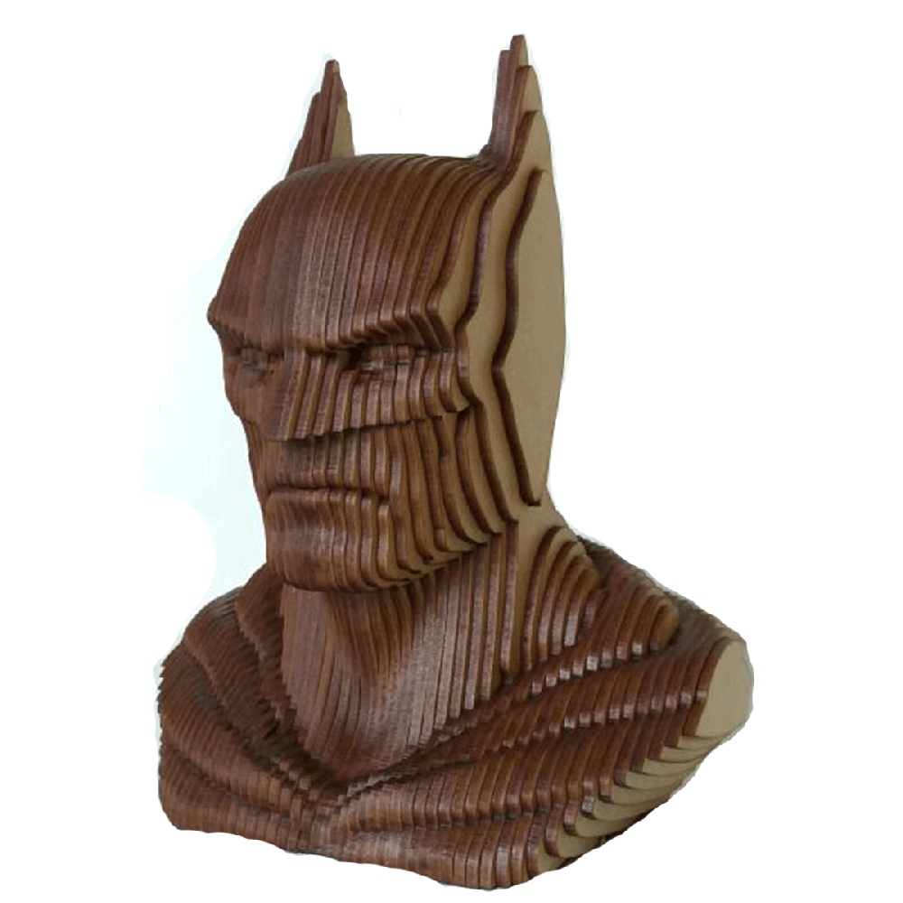 Laser Cut Batman Head Sculpture Wooden Art Free DXF File