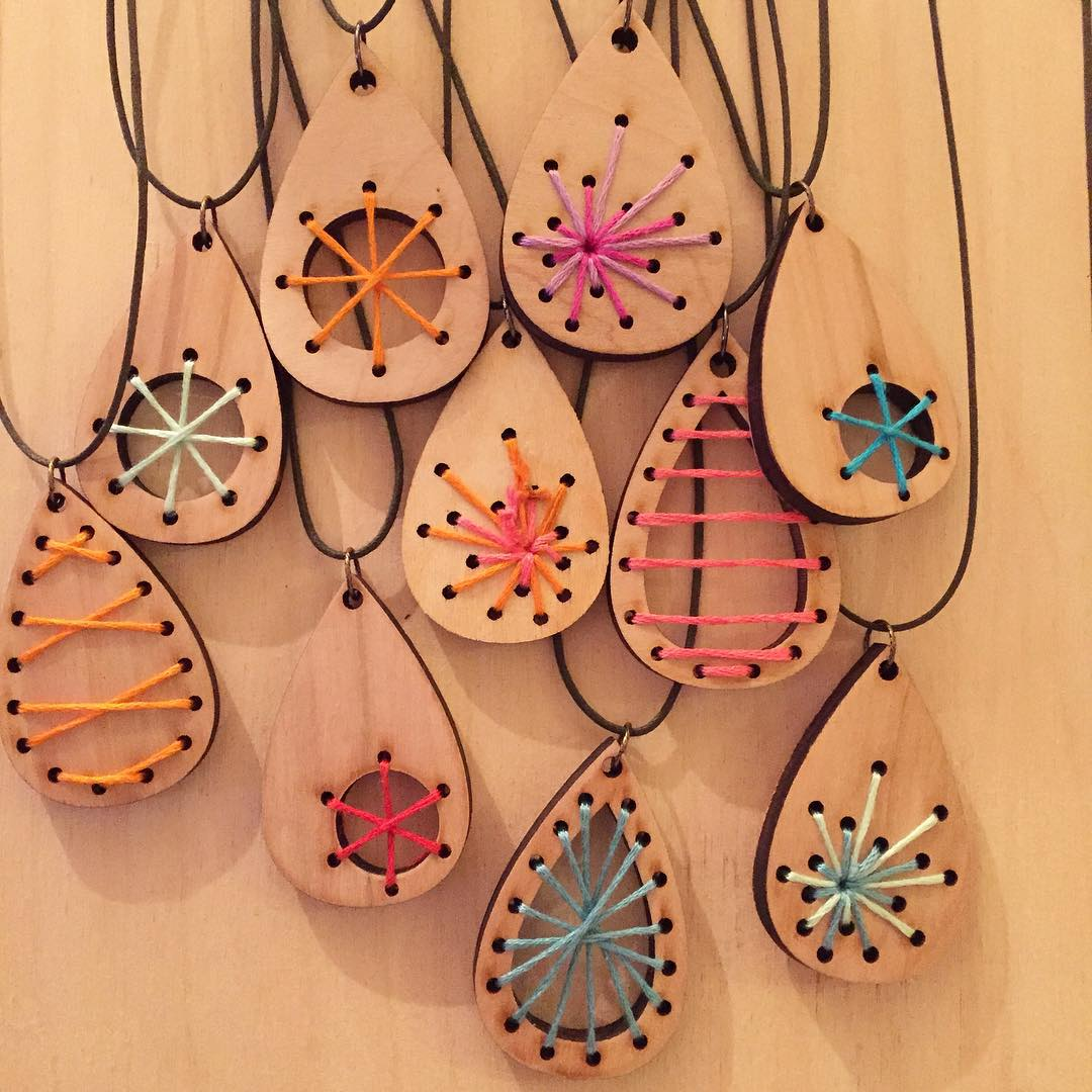 Laser Cut Wood Craft Jewelry Pendants Earrings Free DXF File