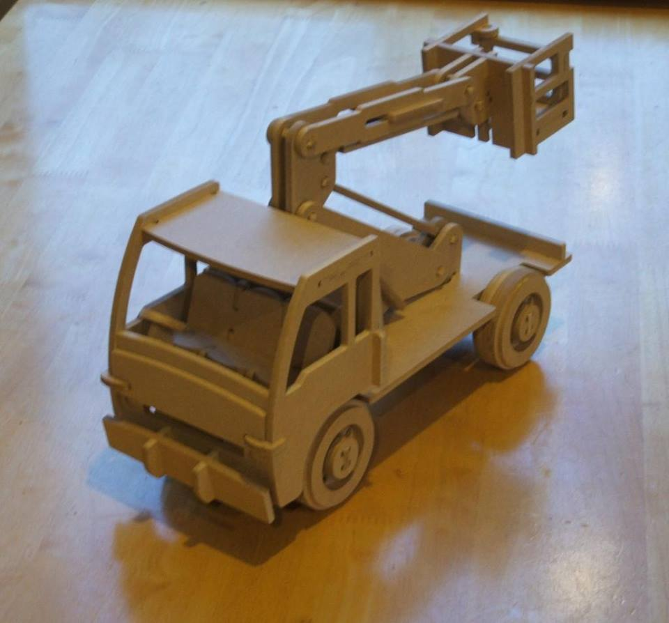 Laser Cut Wooden Cherry Picker Truck Kids Toy Truck Mounted Aerial Work Platform Free DXF File