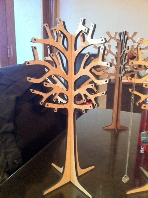 Laser Cut Wooden Jewelry Tree 6mm Free DXF File