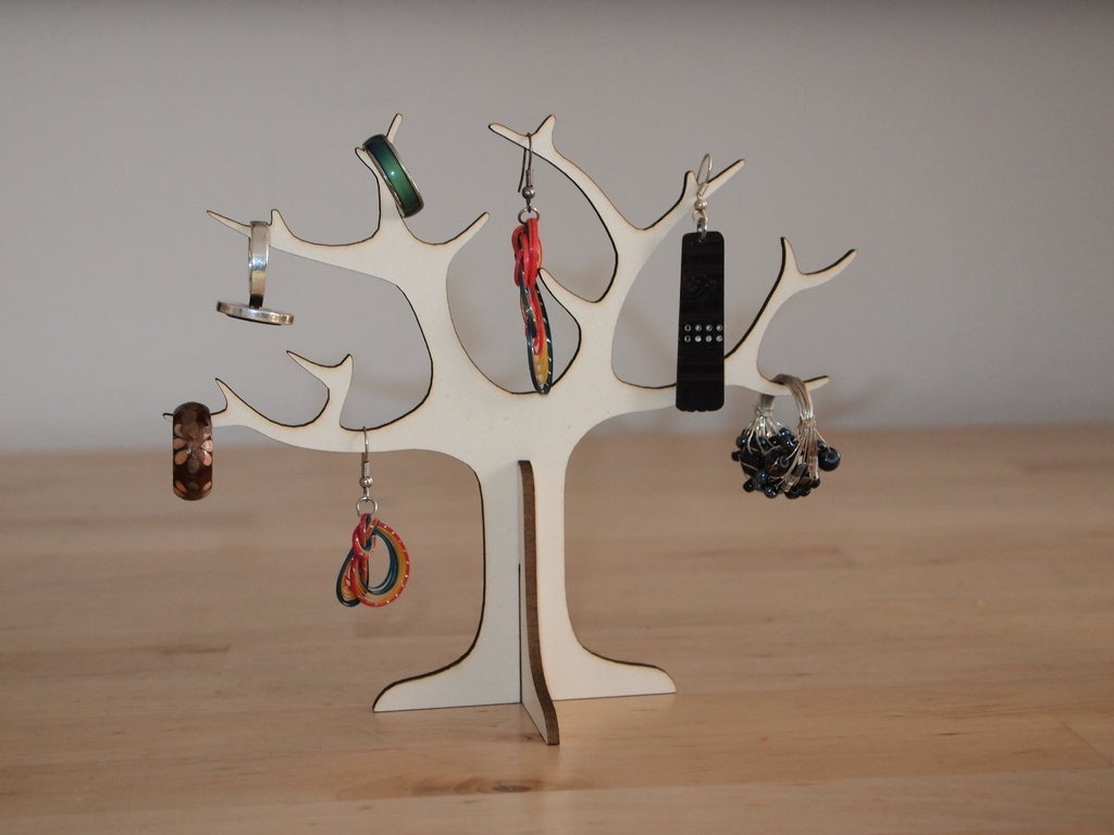 Laser Cut Wooden Tree Jewelry Stand Ring Holder Free DXF File