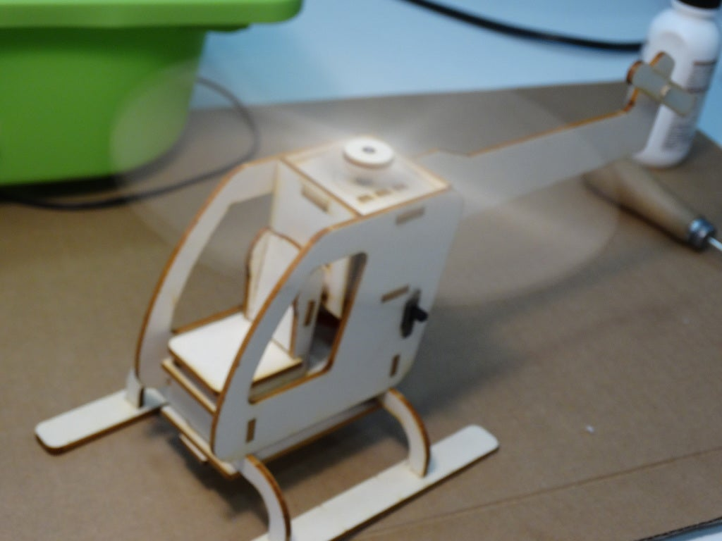 Laser cut Wooden Motorized Helicopter 3mm Free DXF File