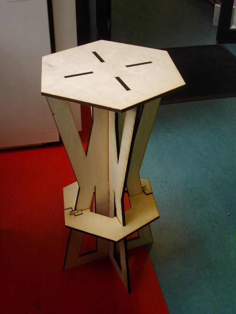 Laser Cut Assembly Stool 9mm Plywood Free DXF File