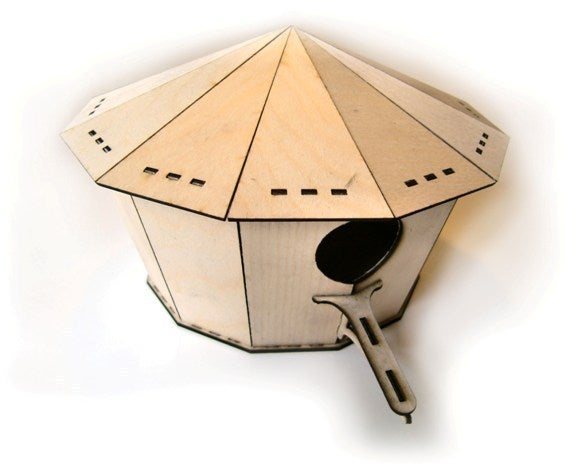 Laser Cut Bird House 2mm Plywood Free DXF File