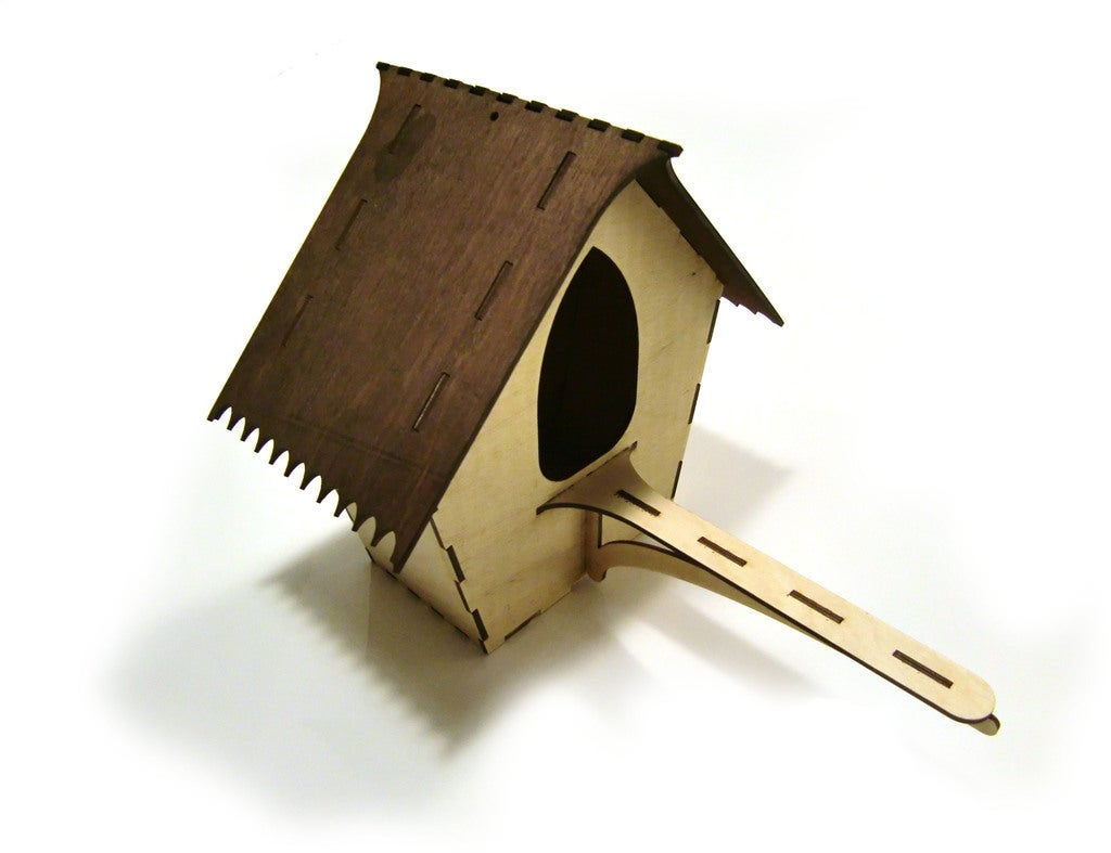 Laser Cut Bird House 3mm Plywood Free DXF File