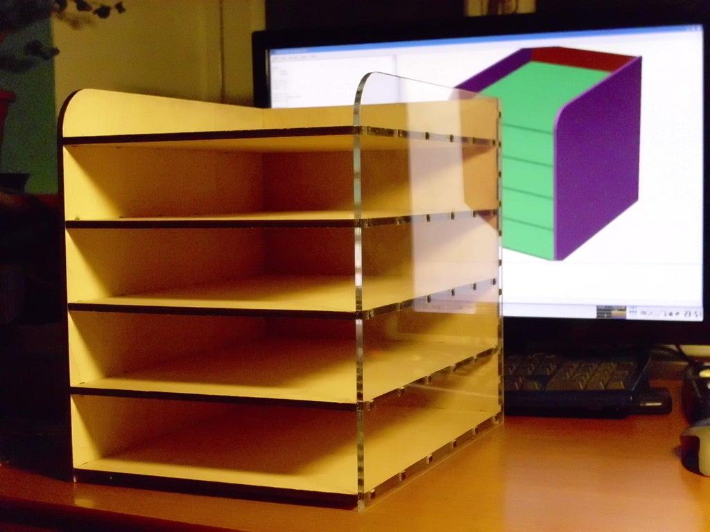 Laser Cut Desktop Filing Rack Free DXF File
