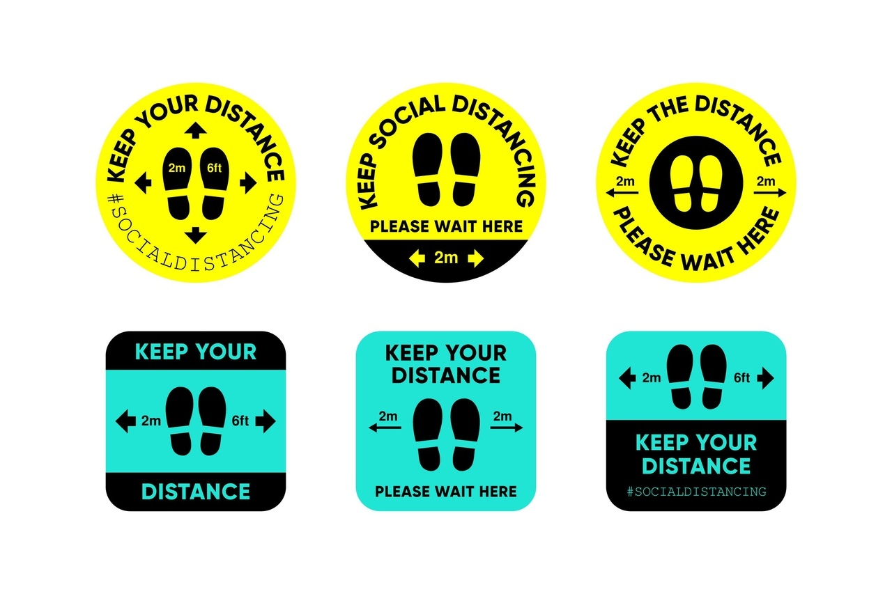 covid-19 Social Distancing Keep Your Distance Signs Free DXF File