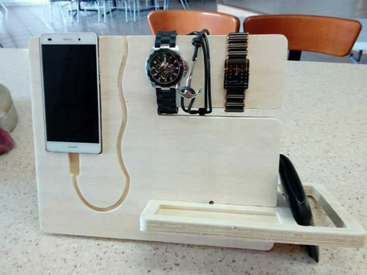 Laser Cut Night Stand Charging Station Bedside Organizer Gift For Men Free DXF File