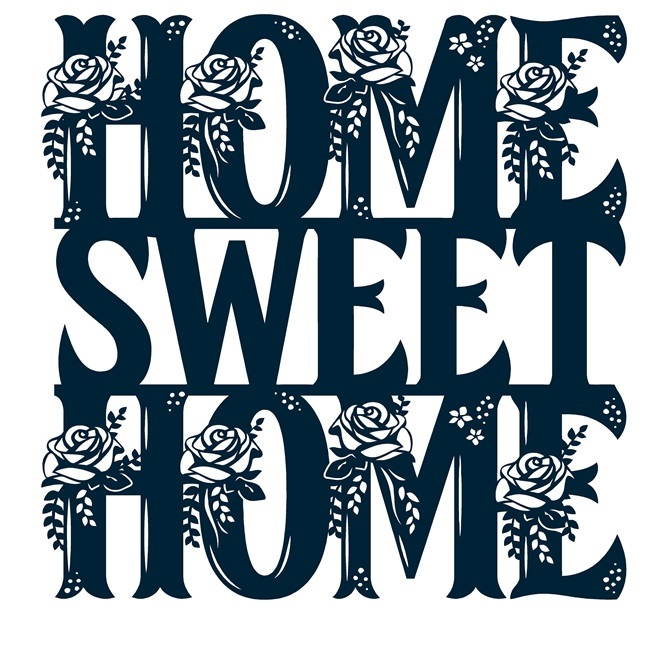 Floral Home Sweet Home Sign Free DXF File