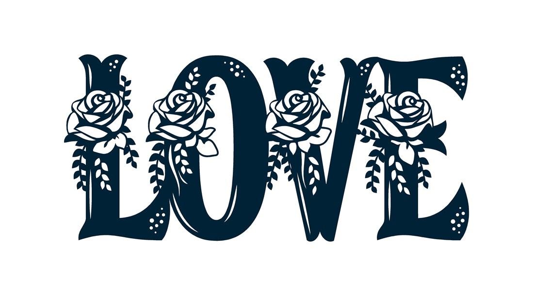 Floral Love Sign Laser Cut Free DXF File