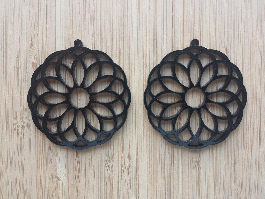 Laser Cut Earrings Acrylic Flower Design Free DXF File