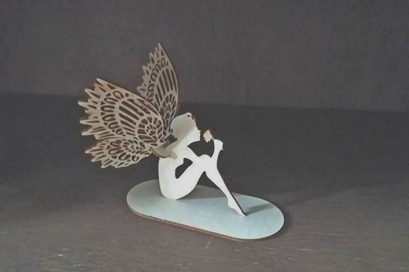 Laser Cut Angel Fairy On Stand Decoration Free DXF File