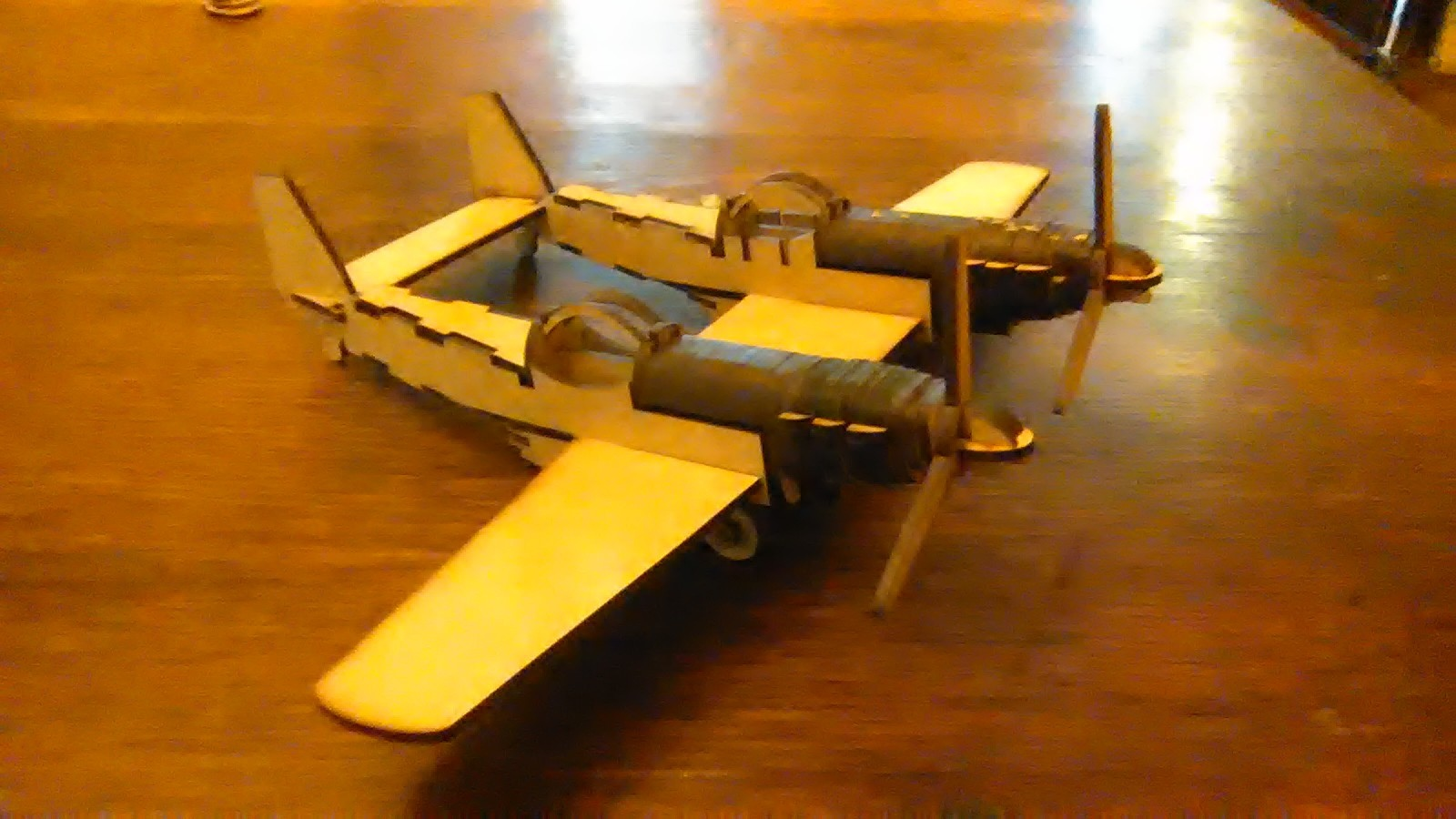 Laser Cut Wooden Twin Mustang Double Propeller Plane Template Free DXF File