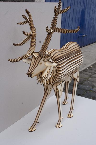 Laser Cut Deer 3d Wood Model Free DXF File