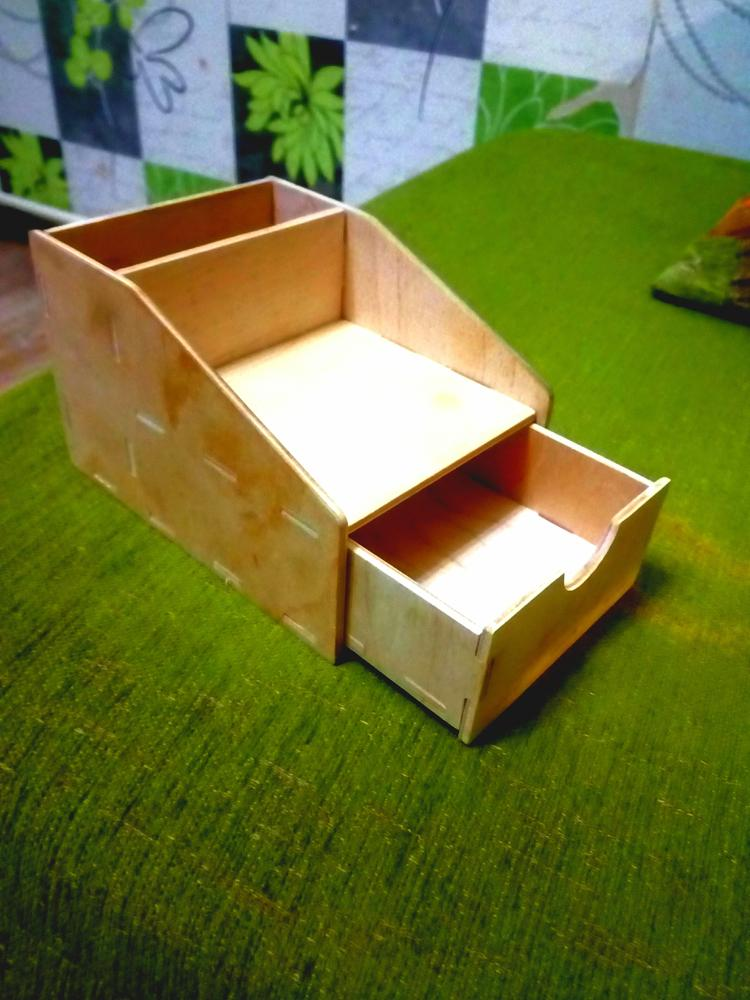 Laser Cut Mini Pencil Organizer With Drawer 4 Mm Free DXF File