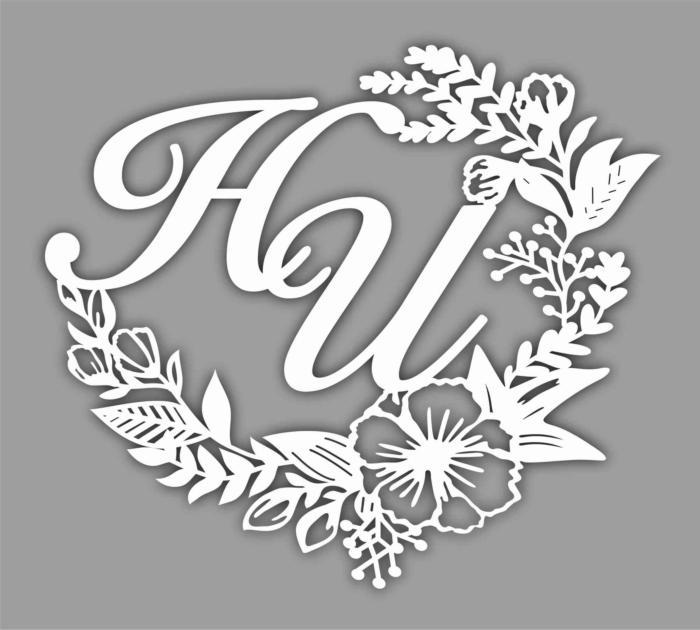 Laser Cut Floral Monogram Free CDR Vectors Art