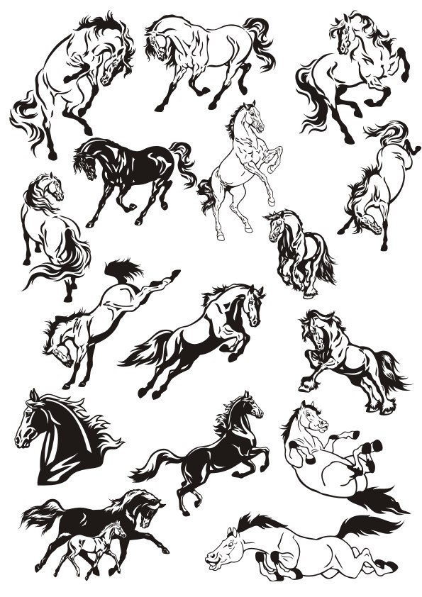 Laser Cut Set Of Horse Stickers Vector Art Collection Free CDR Vectors Art