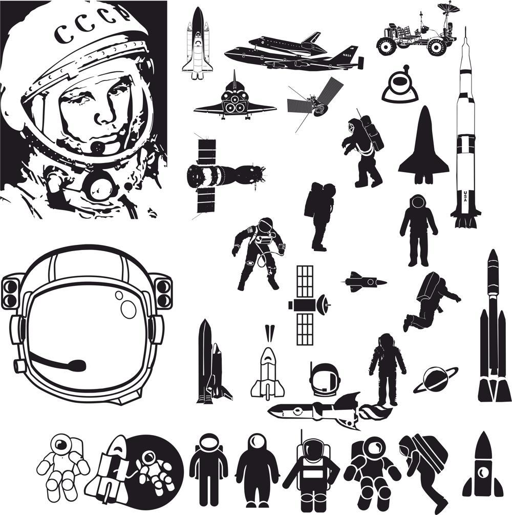 Laser Cut Sketch Of Astronaut Free CDR Vectors Art