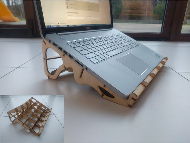 Laser Cut 17inch Laptop Stand 3 8mm Plywood Free DXF File