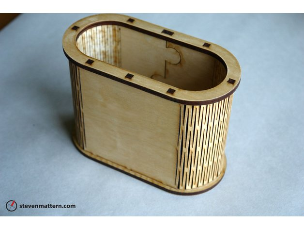 Laser Cut Living Hinge Container Pen Holder Free DXF File