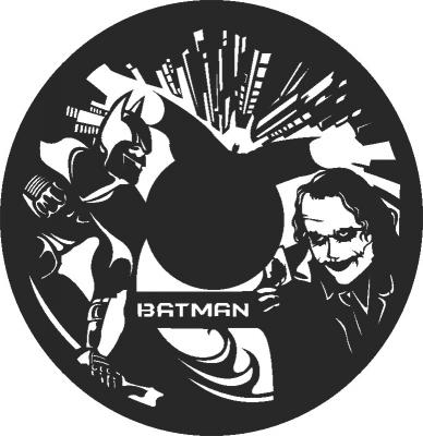 Batman Wall Clock Silhouette Free DXF File