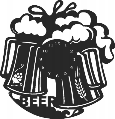 Beer Wall Clock Free DXF File