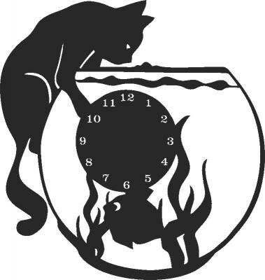 Bquarium Cat Clock Free DXF File