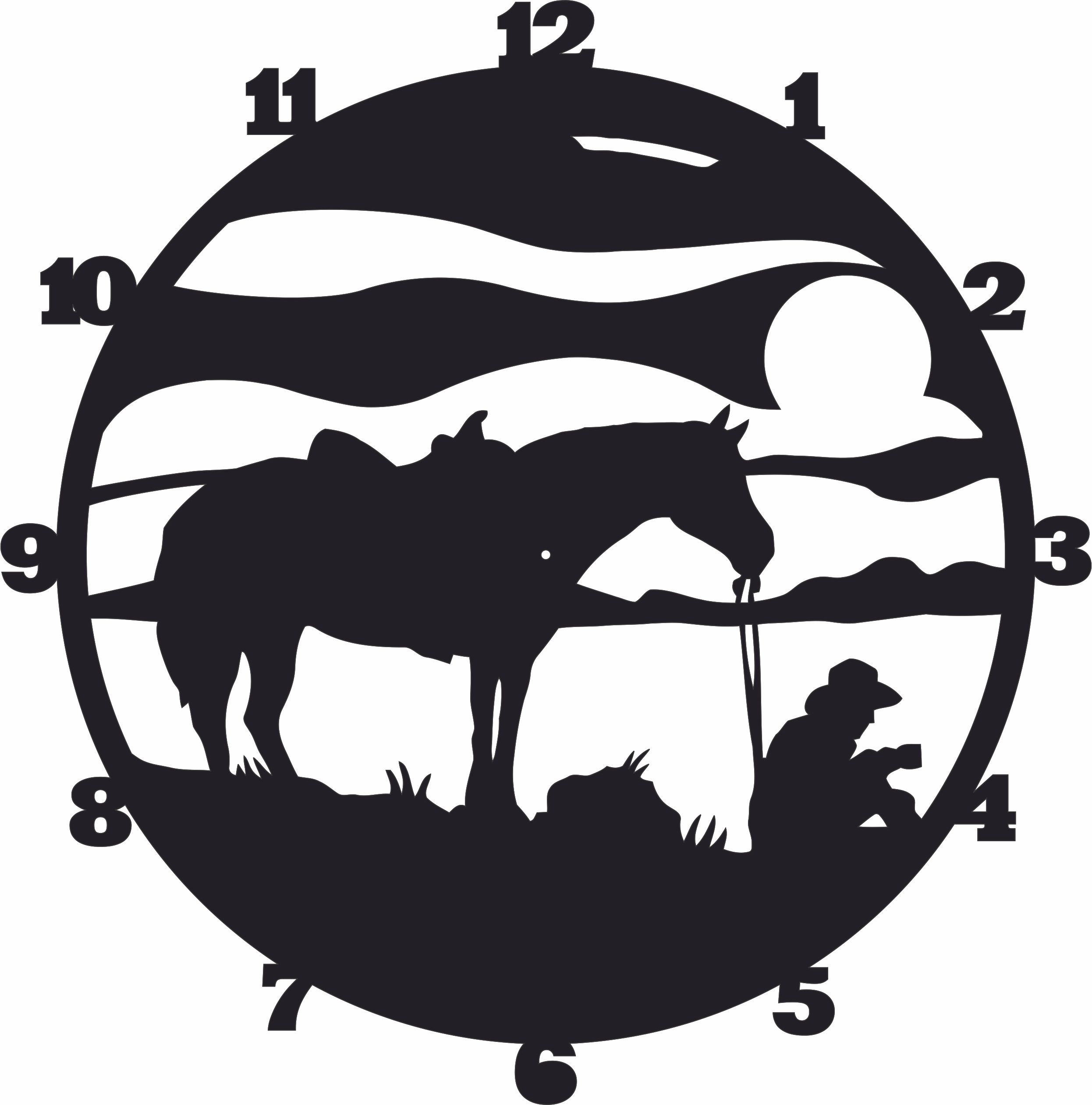 Cowboy Wall Clock Western Horse Free DXF File