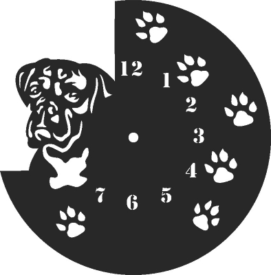 Dog Wall Clock Free DXF File