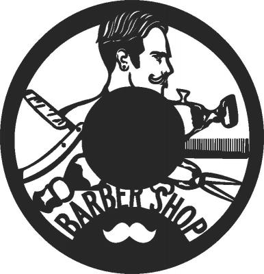 Barbershop Wall Clock Vinyle Free CDR Vectors Art