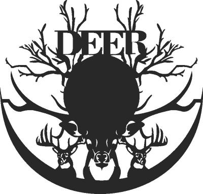 Deer Wall Clock Free CDR Vectors Art