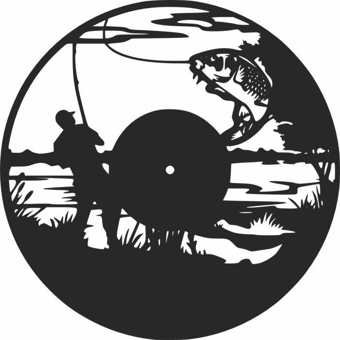 Fishing Vinyl Wall Clock Fisherman Free CDR Vectors Art