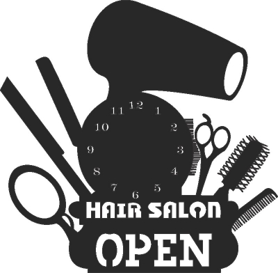 Hair Salon Wall Clock Free DXF File