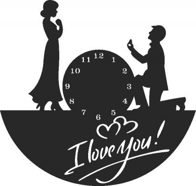 I Love You Clock Free DXF File