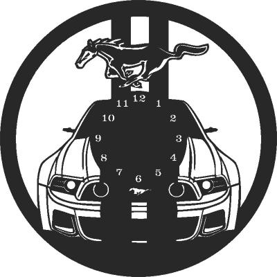 Mustang Car Wall Clock Free DXF File