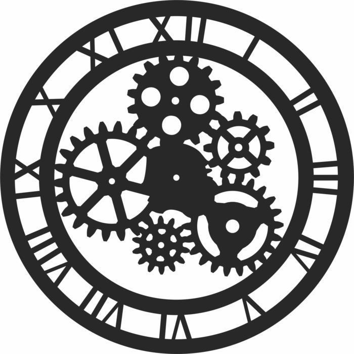 Roman Numerals Gear Clock Free DXF File