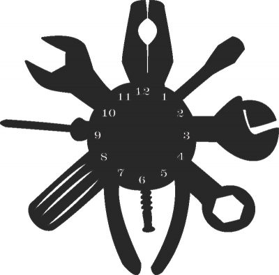 Tools Wall Clock Free DXF File