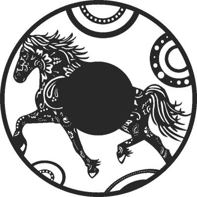 Horse Wall Clock Free CDR Vectors Art