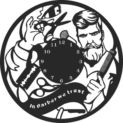 In Barber We Trust Wall Clock Vinyle Free CDR Vectors Art