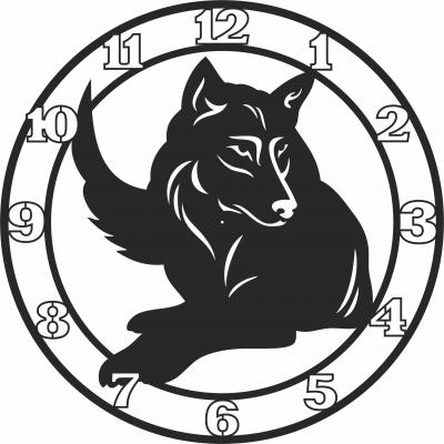 Wolf Wall Clock Free CDR Vectors Art
