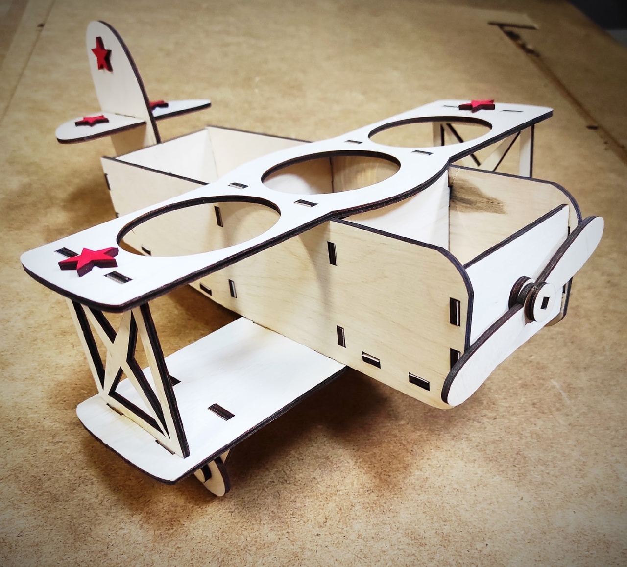 Laser Cut Airplane Model Beer Holder Free CDR Vectors Art