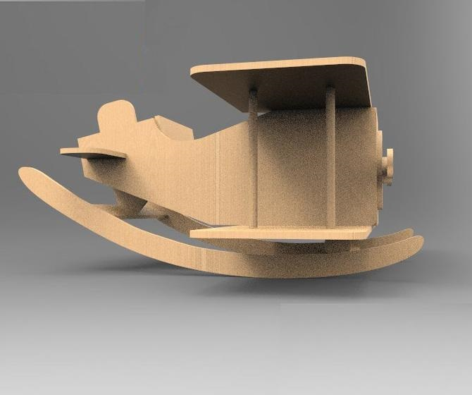 Wooden Rocking Airplane For Kids Free CDR Vectors Art